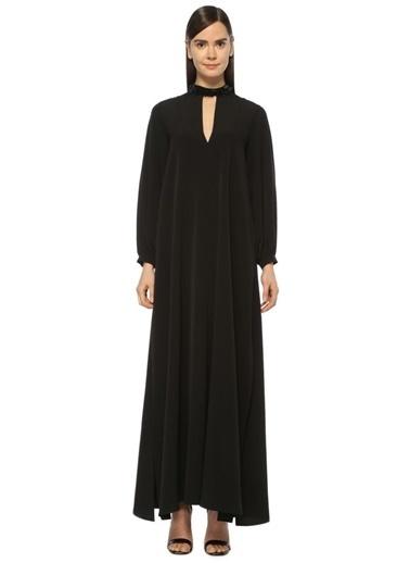 Yakası Boncuk İşlemeli Uzun Elbise-Academia